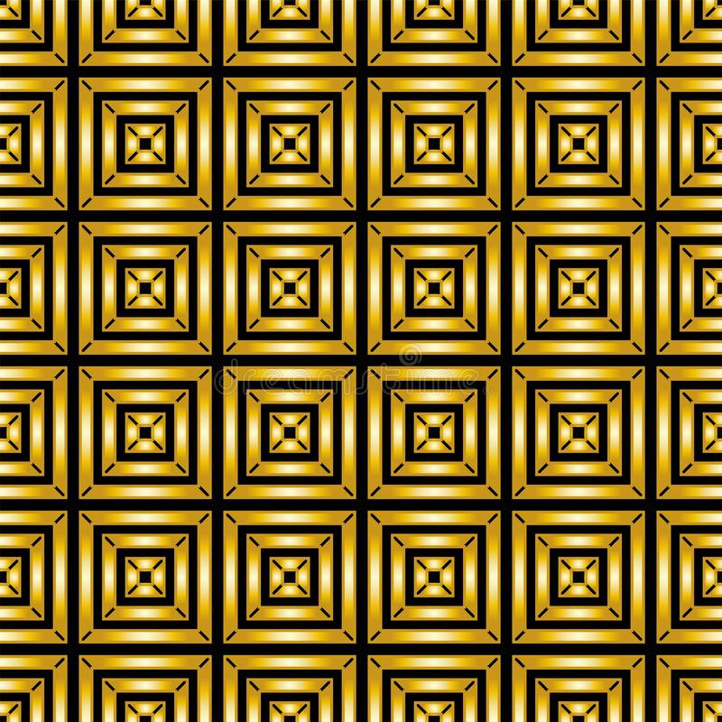 Abstract seamless geometric background. Pattern of Golden squares vector illustration