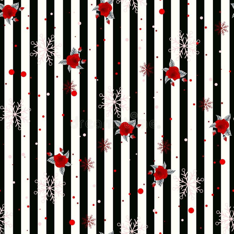 Abstract Seamless geometric Horizontal striped pattern with black and white stripes flower and snowflake. Vector illustration. eps. 10 royalty free illustration