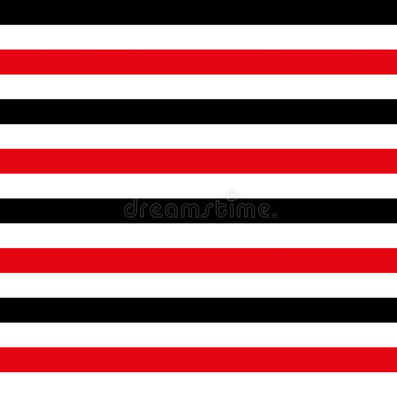 Abstract seamless geometric horizontal striped pattern with red, black and white stripes. Vector illustration. vector illustration