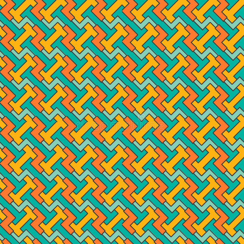 Abstract seamless geometric pattern. background. Retro orange, black and blue colors. Endless texture can be used for printing onto fabric and paper or scrap vector illustration
