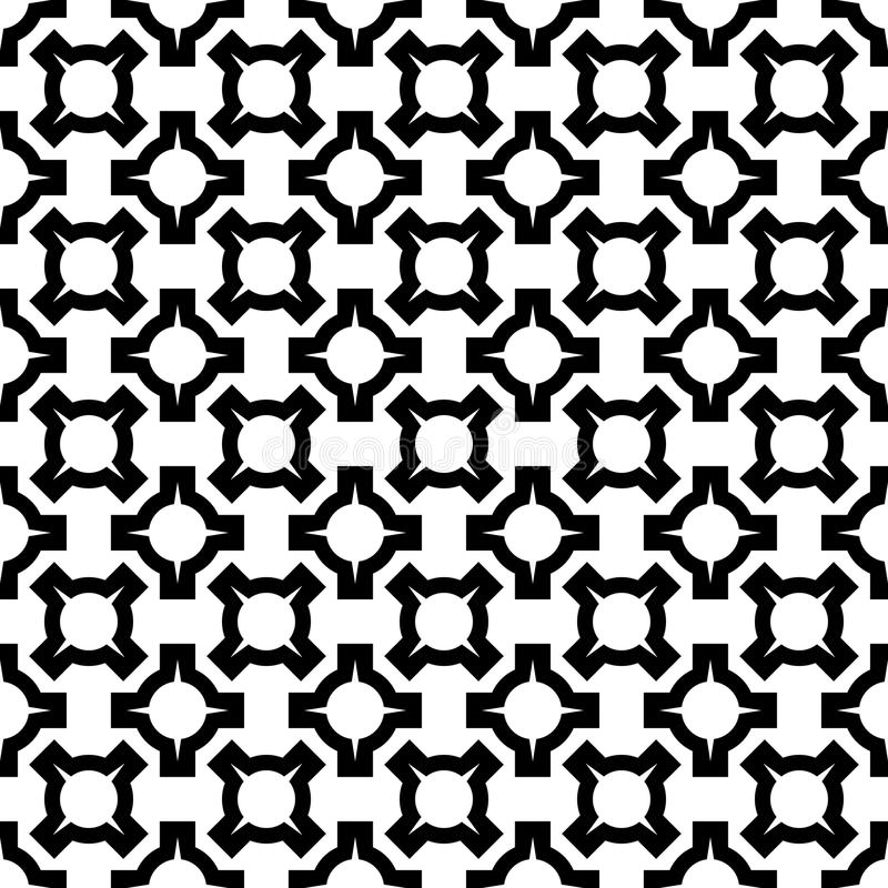 Abstract seamless geometric pattern with circle elements. Simple black and white texture. Vector stock illustration