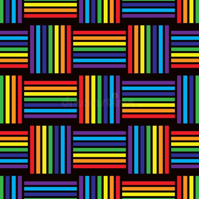 Abstract seamless geometric pattern of rainbow stripes. vector illustration