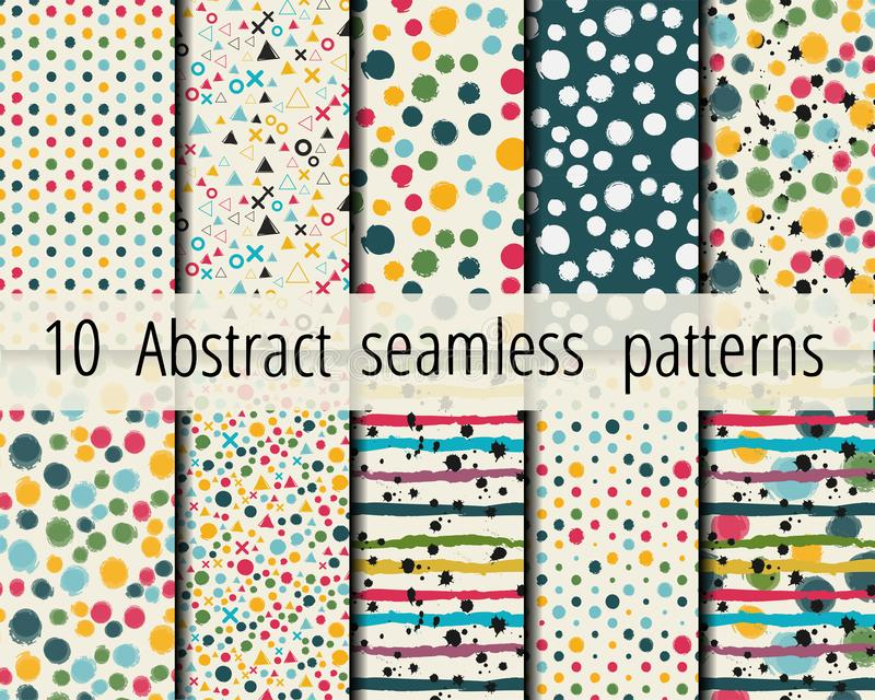 10 Abstract seamless geometric patterns royalty free stock image