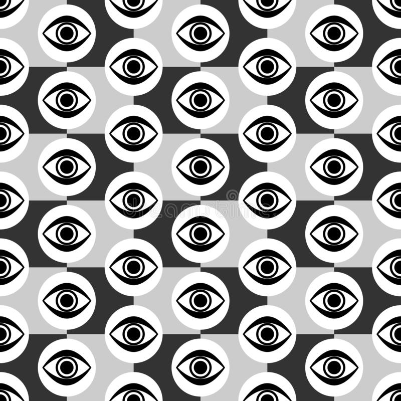 Abstract Seamless Gray, Black and White Geometric Pattern with Blinking Eyes. Textured Surface of Tile Wall. Vector Illustration vector illustration