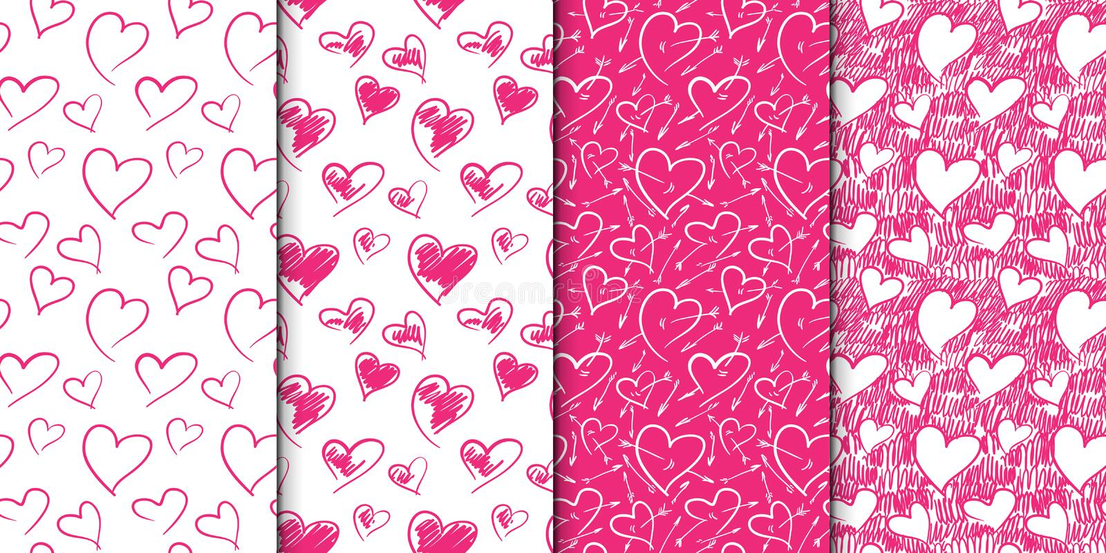 Abstract seamless heart pattern set. Hand drawn illustration. Pink and white. Set of repeating backgrounds with doodle stock illustration