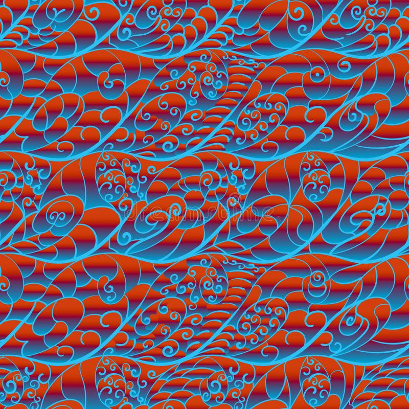 Abstract seamless hypnotic pattern in warm-cool colors. Abstract spiral red-blue hypnotic pattern. Stylized sea waves at sunset. The transition from hot to cold stock illustration