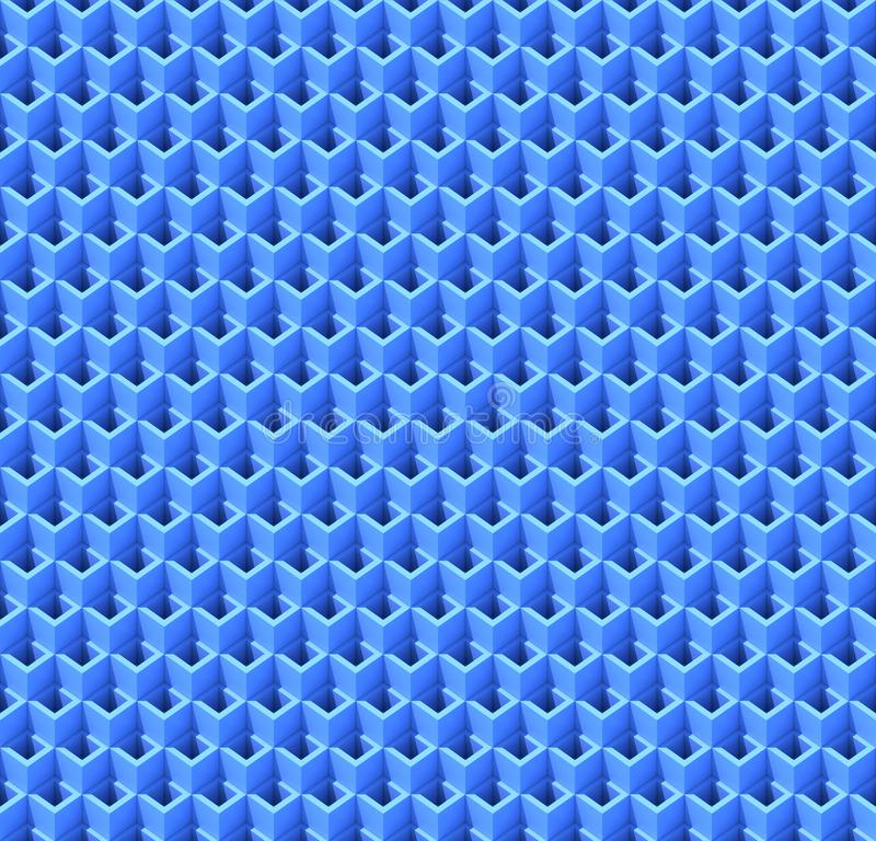 Abstract blue cubes. Seamless pattern background. 3d rendering stock illustration