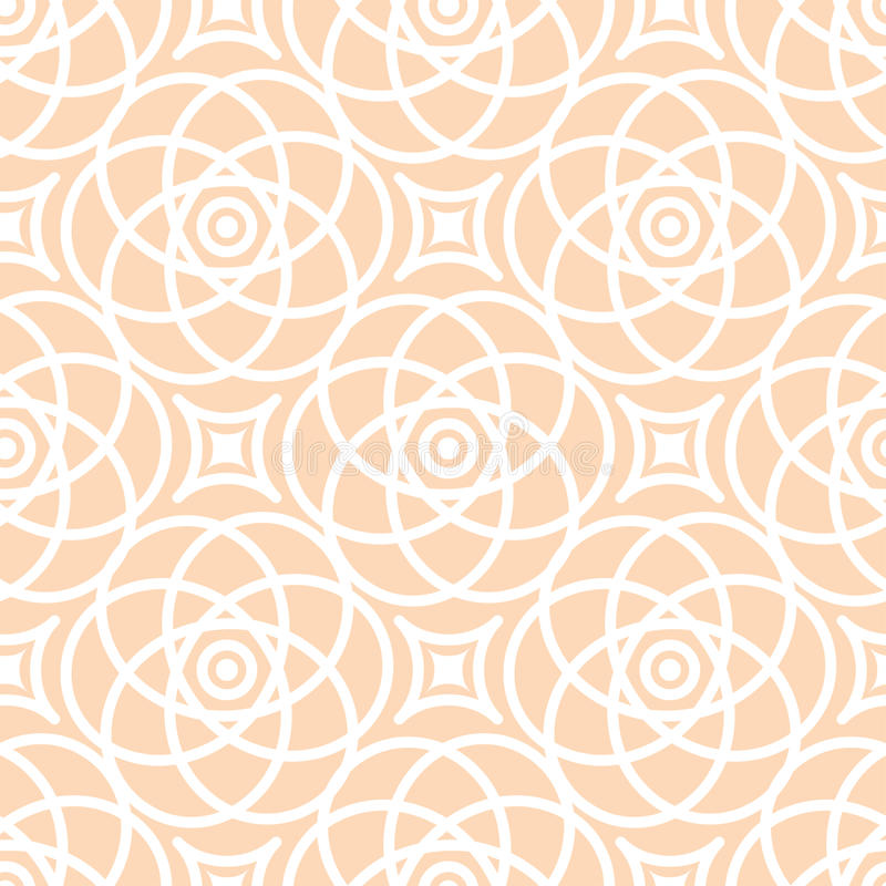 Abstract seamless lace pattern. Duotone graphic beige and white ornament. Geometric arabesque floral ornament royalty free illustration
