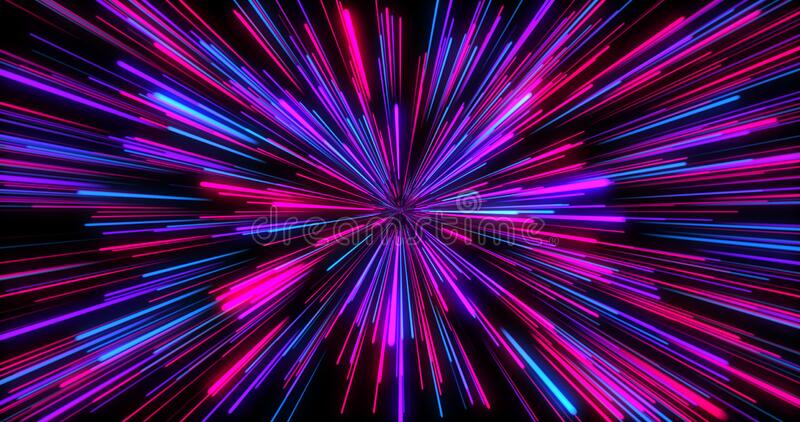 Abstract seamless looped animation of neon, glowing light tubes, lasers and lines bouncing around and moving forward. Hyper jump into another galaxy vector illustration