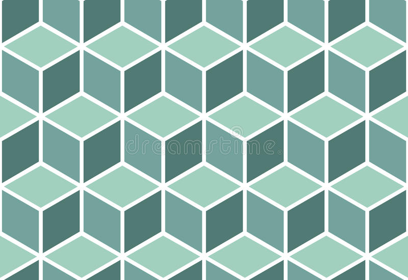 Abstract seamless mint cube pattern. Seamless pattern of mint cubes. Endless cubic background. Optical illusion vector illustration
