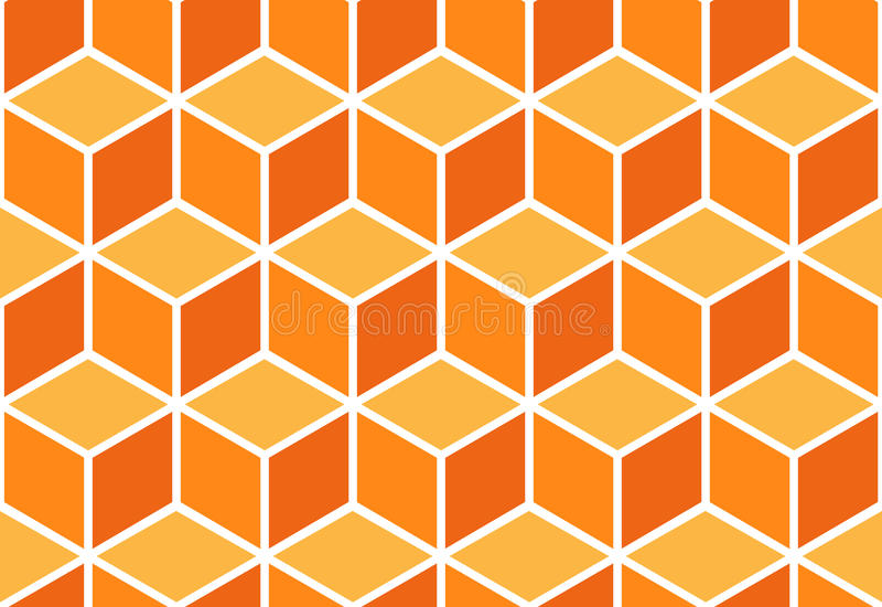 Abstract seamless orange cube pattern. Seamless pattern of colored cubes. Endless cubic background. Optical illusion vector illustration