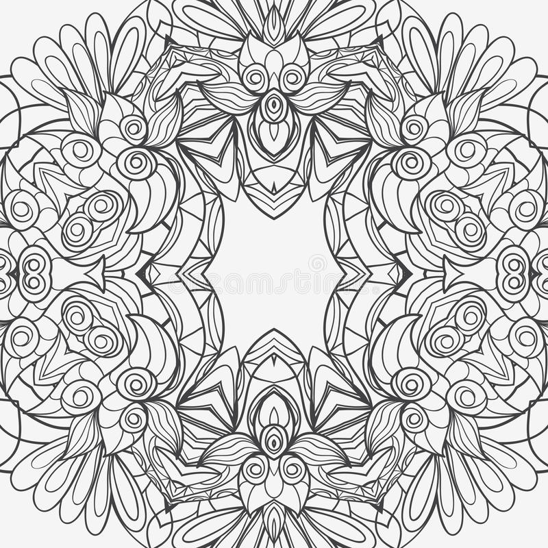 Abstract seamless ornament pattern. the kaleidoscope effect. Ethnic damask motif. Vintage style pattern. Vector illustration royalty free illustration