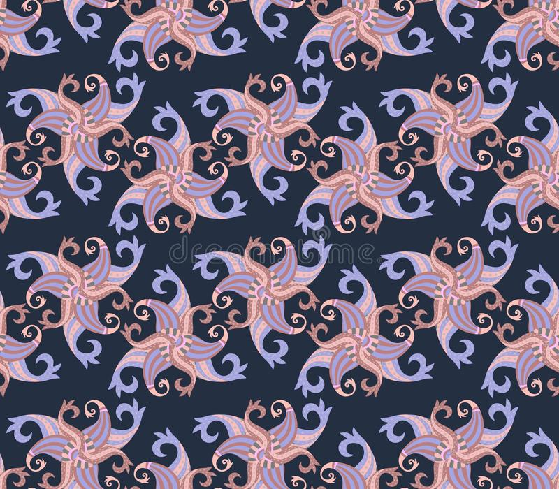 Abstract seamless paisley pattern in blue, beige and brown colors in indian style. Ethnic print for fabric royalty free illustration