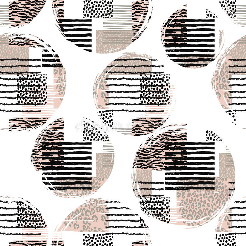 Abstract seamless pattern with animal print. Trendy hand drawn textures. Vector modern design for paper, cover, fabric, interior decor and other users stock illustration