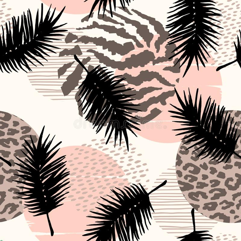 Abstract seamless pattern with animal print, tropical plants and geometric shapes. Trendy hand drawn textures. Modern abstract design for paper, cover, fabric royalty free illustration