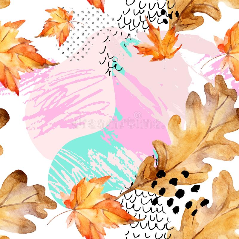 Abstract seamless pattern of autumn oak, maple leaves, fluid shapes, minimal grunge element, doodle royalty free illustration