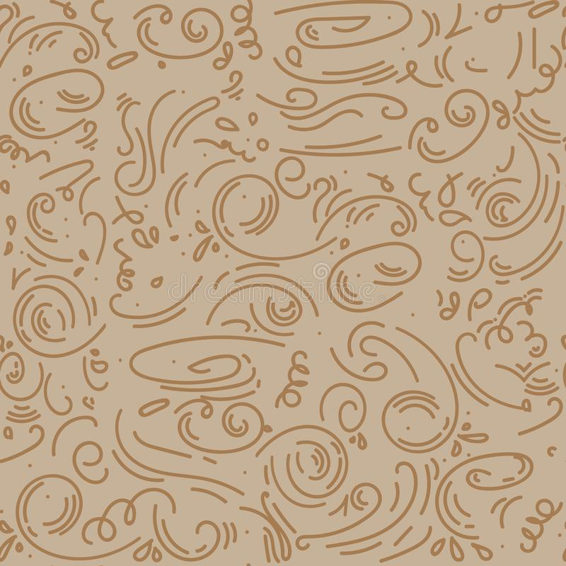 Abstract seamless pattern background in outline doodle style. beige, brown whorls. Vector illustration. trendy modern template for royalty free illustration