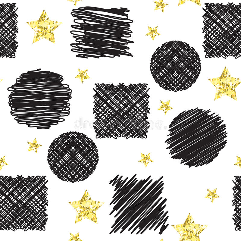 Abstract seamless pattern with black ink scribble circles and squares and stars. With golden glitter foil texture. Hand drawn vector illustration vector illustration