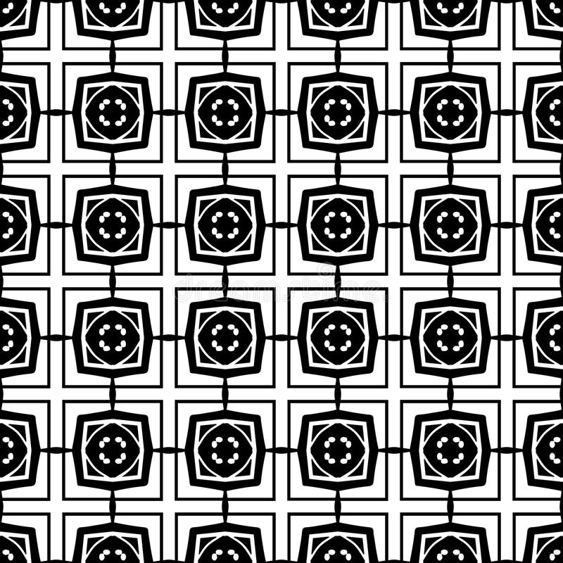 Abstract seamless pattern in black and white. Hand drawn ornamental wallpaper or textile pattern with white motives on black background.Vector format. Drop it vector illustration
