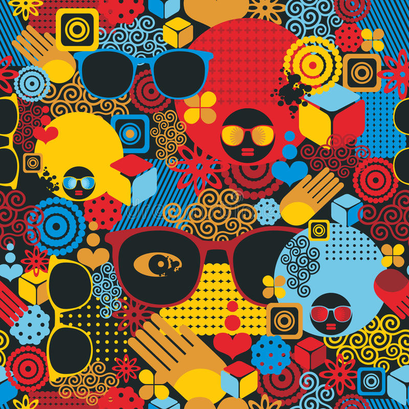 Abstract seamless pattern with black woman. stock illustration