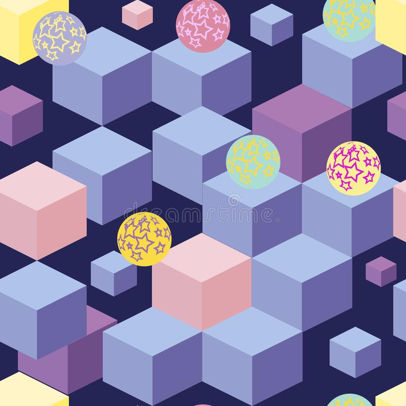 Abstract seamless pattern with blue cubes. Abstract seamless pattern with blue and light pink and yellow cubes and star colored balls on a dark blue background stock illustration