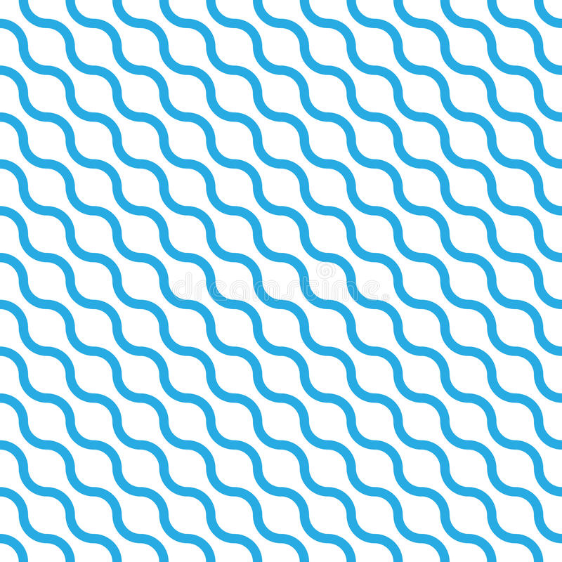Abstract seamless pattern with blue waves in diagonal arrangement on white background. Simple flat geometric vector royalty free illustration