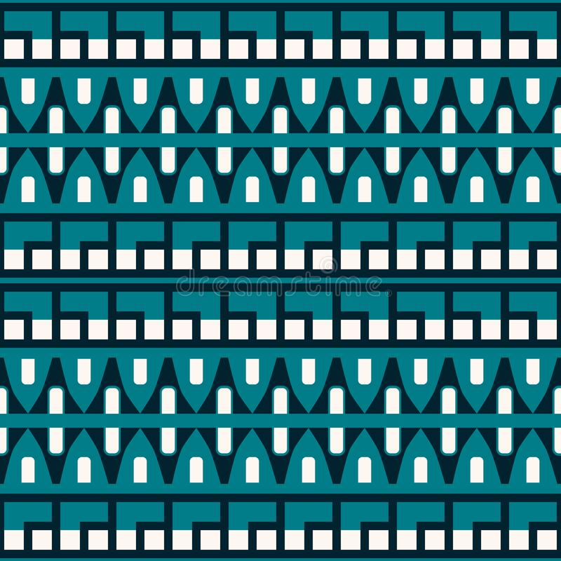 Abstract seamless geometric pattern in blue and white colors stock illustration