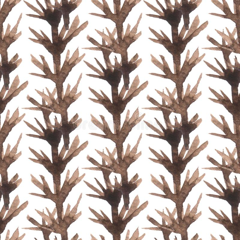 Abstract seamless pattern with brown branches. Decorative background. Colorful texture for design of textile, fabric, cover stock image