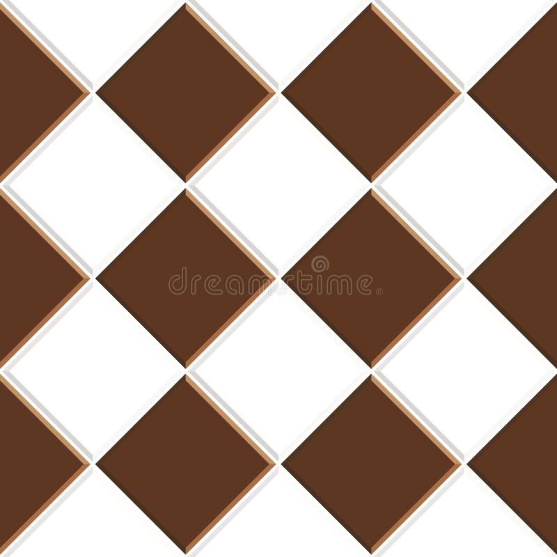 Abstract seamless pattern of brown white ceramic floor tiles.Design geometric mosaic texture for the decoration of the kitchen roo vector illustration