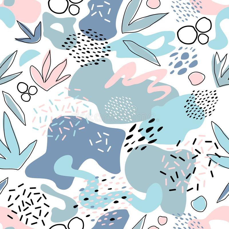 Abstract seamless pattern with chaotic painted elements. Vector Hand drawn texture with different lines, dots and shapes. Creative universal artistic Fun vector illustration