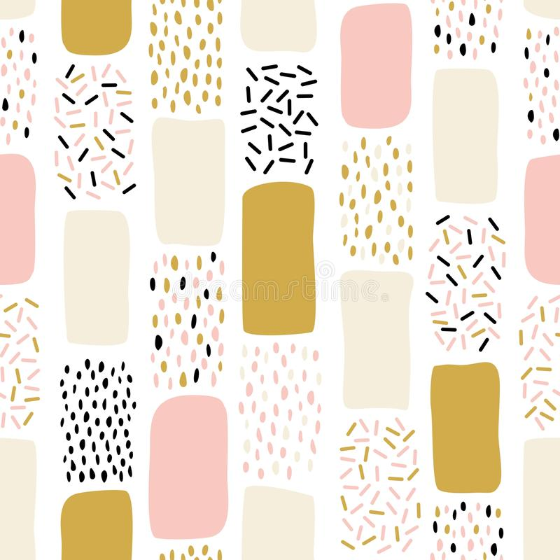 Abstract seamless pattern with chaotic painted elements. Vector Hand drawn texture with different lines, dots and shapes. Creative universal artistic Fun stock illustration