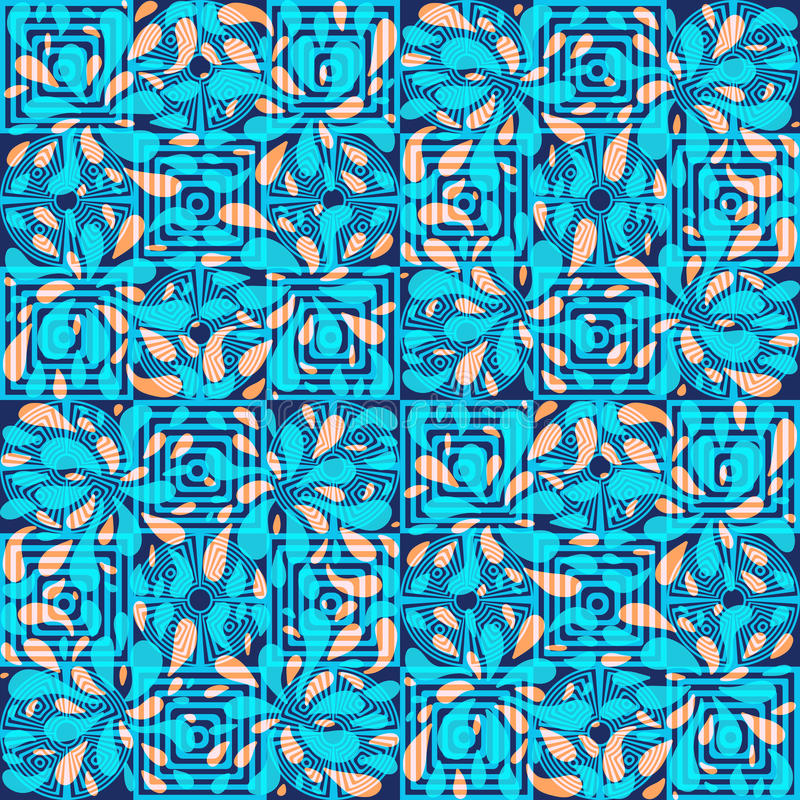 Abstract seamless pattern with circles, squares and swirls vector illustration