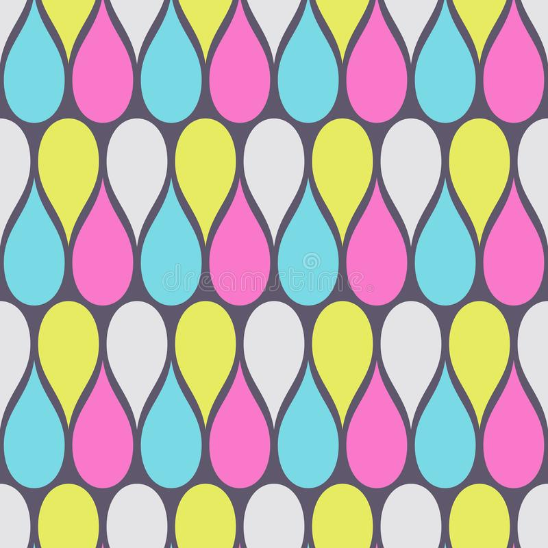 Abstract seamless pattern of color drops. Modern stylish elegant texture. Repeating geometric tiles. Kiddie ornament. Design for print, fabric, cloth, textile stock illustration
