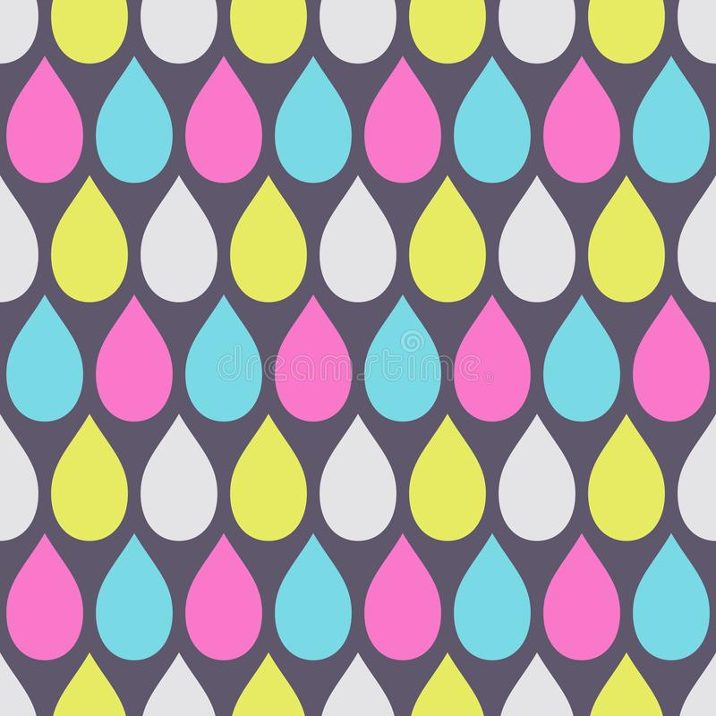 Abstract seamless pattern of color drops. Modern stylish elegant texture. Repeating geometric tiles. Kiddie ornament. Design for print, fabric, cloth, textile royalty free illustration