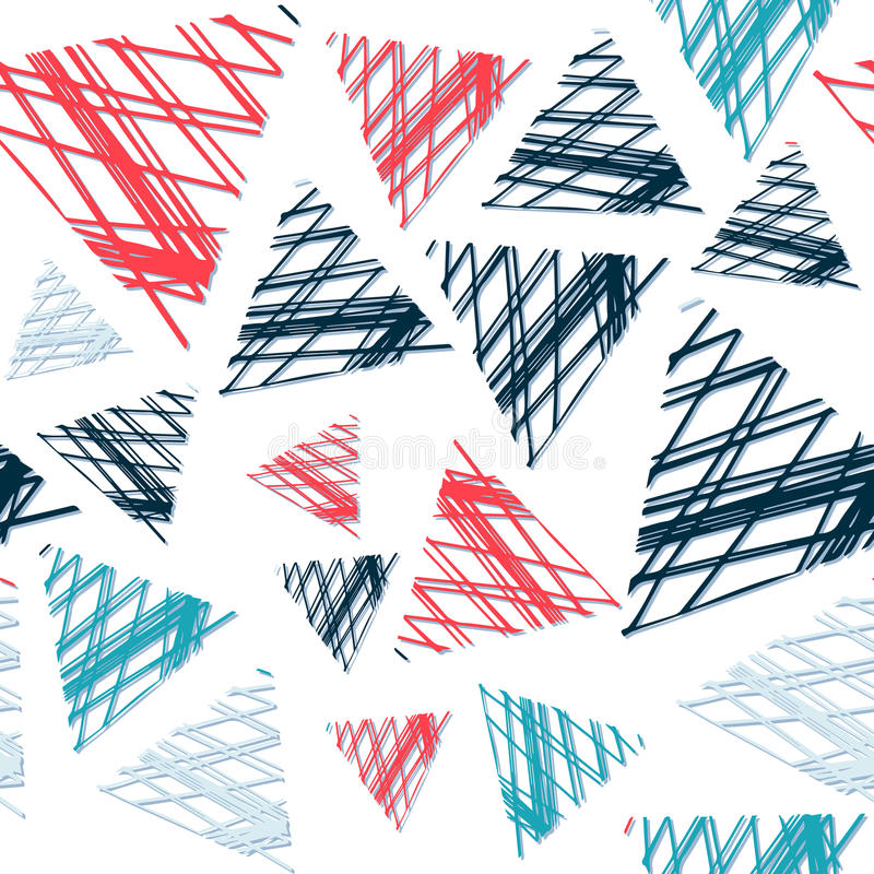 Abstract seamless pattern of colored triangles in grunge. Bright colors royalty free illustration