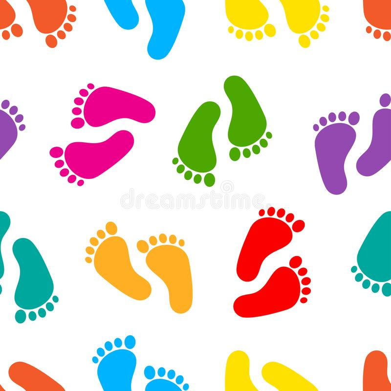 Abstract seamless pattern with colorful traces of human feet. Footprint isolated on white background. Vector. Illustration vector illustration