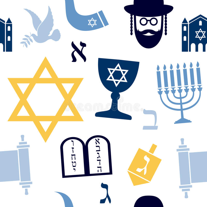 Judaism Seamless Pattern. An abstract seamless pattern with colourful Judaism icons on white background. Useful also as design element for texture, pattern or royalty free illustration