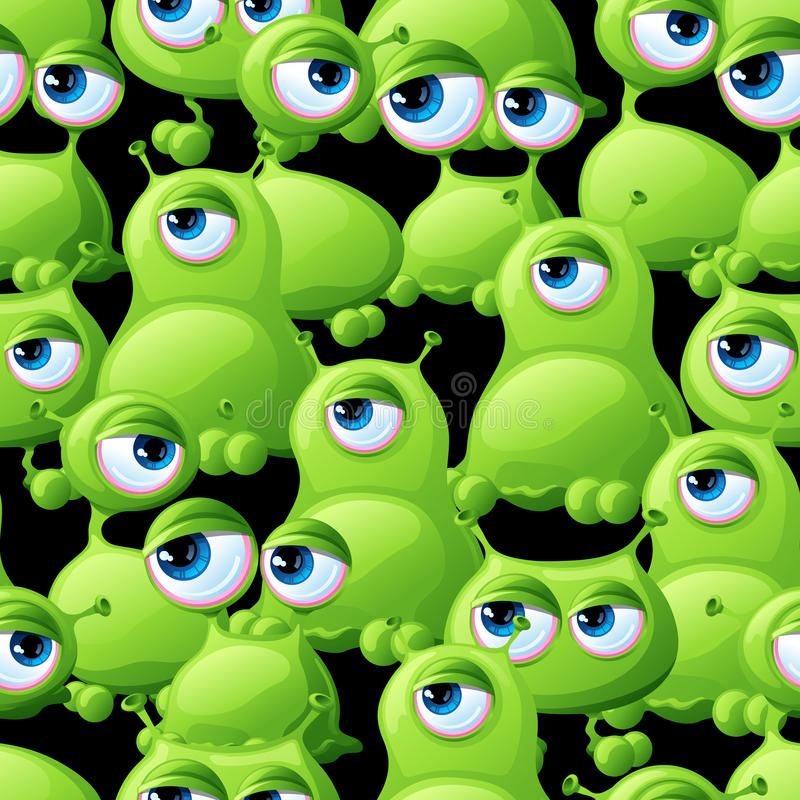 Abstract seamless pattern with cute monsters royalty free illustration