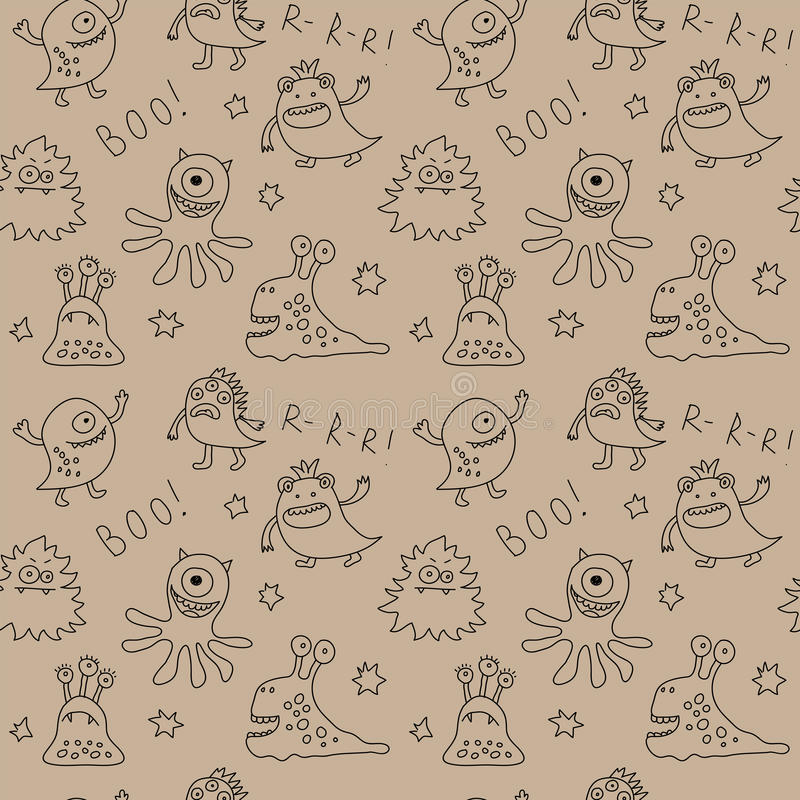 Abstract seamless pattern with cute monsters and stars stock illustration