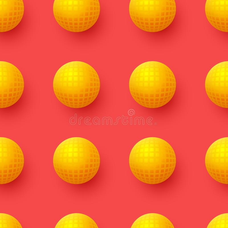 Abstract seamless pattern with 3d yellow balls on red background. vector illustration