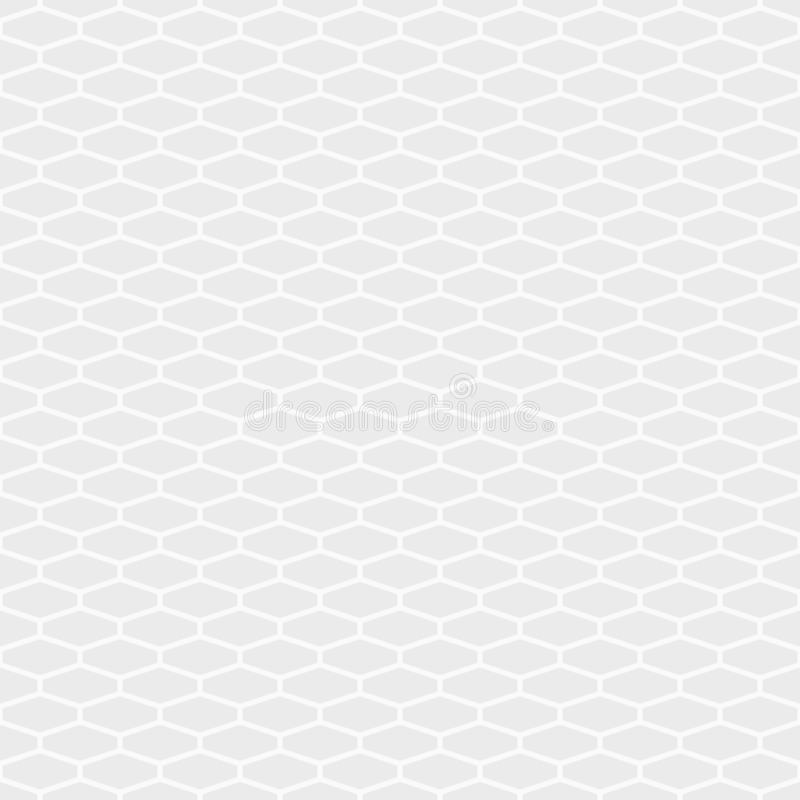 Abstract seamless pattern of elongated hexagon tiles. White and gray geometric texture. Hexagonal grid design. stock illustration