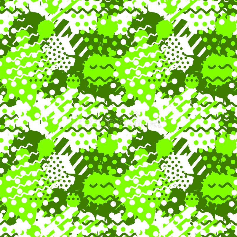 Abstract seamless tile pattern with fluid forms in modern ufo green color vector illustration