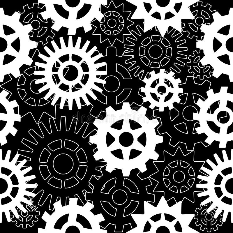 Abstract seamless pattern with gears on a black background. vector illustration
