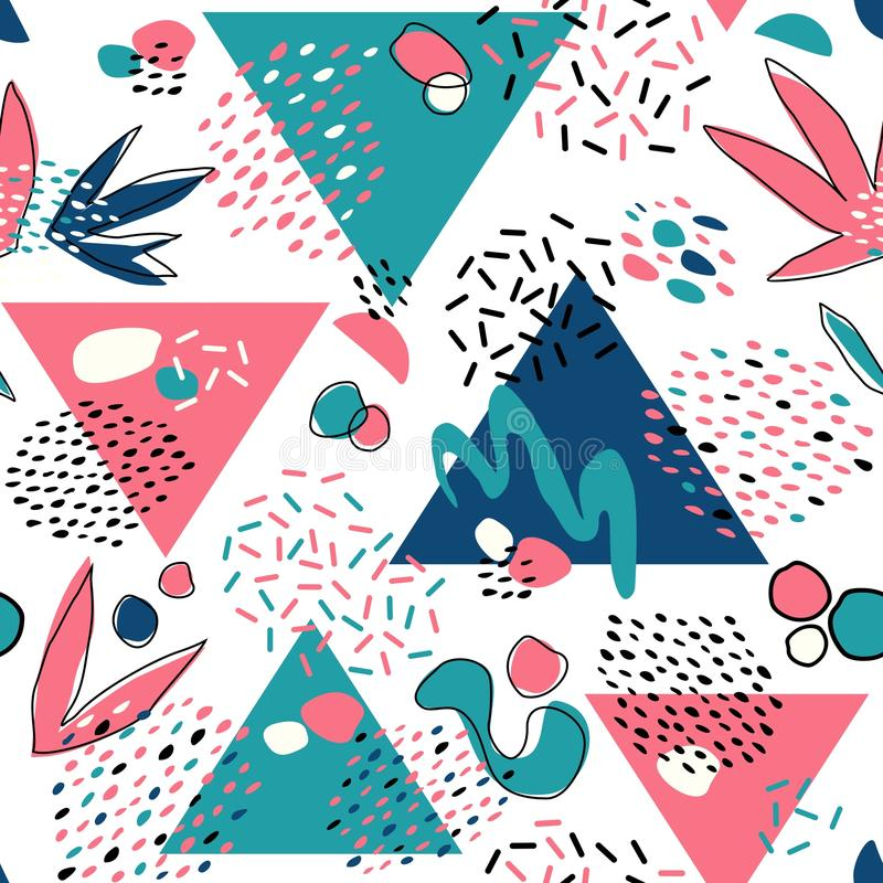 Abstract seamless pattern with geometric elements, triangles, different lines, dots and shapes. stock photo