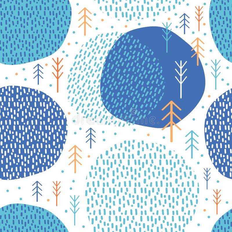 Abstract seamless pattern geometric forest. Simple minimalist trees. Scandinavian style Huge. Cartoon Winter. Vector illustration royalty free illustration
