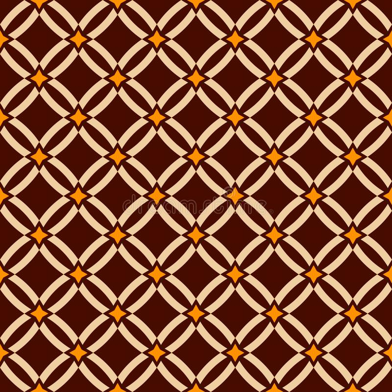 Abstract seamless pattern. Geometric lattice. Ethnic ornament. Diamond shapes. Brown, beige, yellow colors. Vector color backgroun royalty free illustration