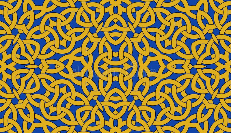 Seamless pattern with golden celtic knot ornament on blue, background royalty free illustration