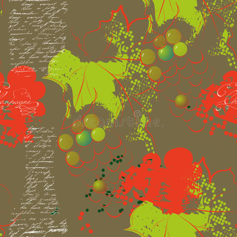 Abstract seamless pattern with grapevine royalty free illustration