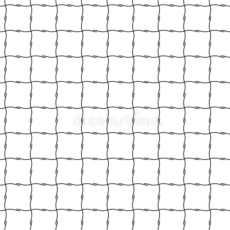 Abstract seamless pattern from grid of crossed lines. Simple black white geometric squared texture for fabric. Vector stock illustration