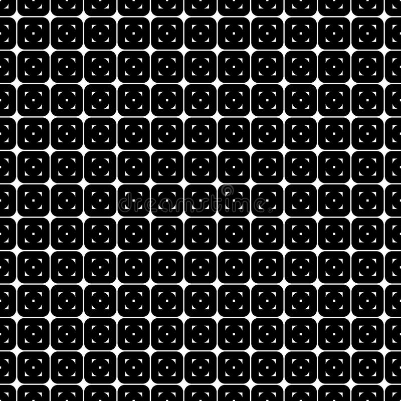 Abstract seamless pattern from grid of rounded squares. Simple black and white geometric texture for fabric. Vector royalty free illustration